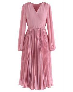 Pinky V-Neck Wrap Plissee Chiffon Kleid