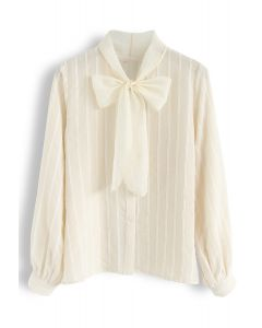 Parallel Mesh Bowknot Neck Sleeves Shirt in Creme