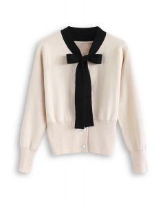 Button Down Bowknot Strickpullover in Creme