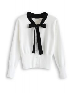 Button Down Bowknot Strickpullover in Weiß