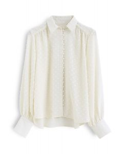Flock Dots Button Front Hi-Lo Shirt in Creme