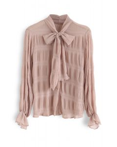 Shirred Bowknot Neck Sleeves Shirt in Koralle