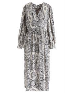Boho Floral Kleid mit V-Ausschnitt und Button-Down