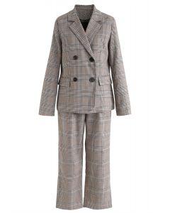 Zweireiher Plaid Blazer und Hosen Set