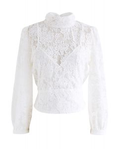 Floral Lace Open Back Crop Top in Weiß