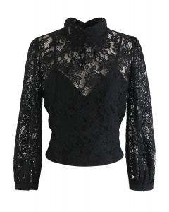 Floral Lace Open Back Crop Top in Schwarz