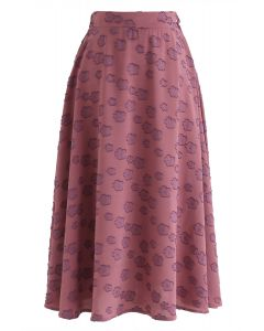 Falling Florets Tasseled A-Line Midi Skirt in Berry