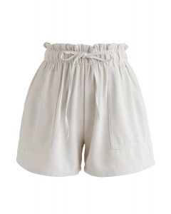 PaperBag-Waist Pockets Shorts in Cream