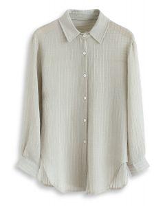 Streifen Textur Button Down Ärmel Shirt in Erbsengrün