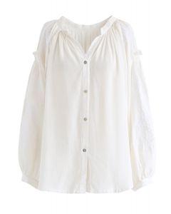 Button Down Besticktes, lockeres Hemd aus Elfenbein