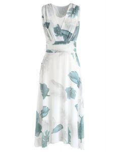 Green Tropical Leaf Plissee ärmelloses Chiffon-Kleid