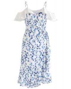 Blue Leaf Print Rüschen gewickeltes Cami-Kleid