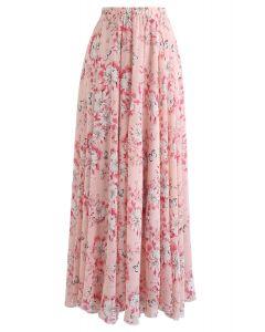 Chiffon-Maxirock mit Schmetterlings- und Blumendruck in Pink
