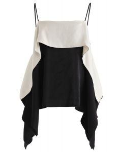 Kontrastfarbe Batwing Sleeves Cold-Shoulder Top in Schwarz