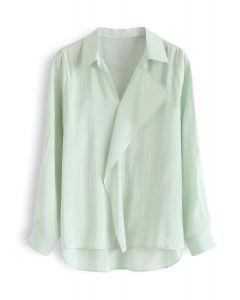 Hi-Lo Saum R-Shirt mit V-Ausschnitt und Rüschen in Minze