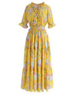 Voll blühendes Kleid mit Blumenrüschen in Gelb