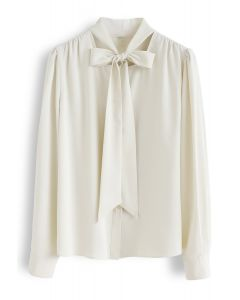 Bowknot Tie Neck Button Down Shirt in Creme