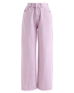 Kurz geschnittene Jeans mit weitem Bein in Taffy Pink