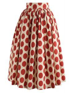 Vintage Red Polka Dot Midirock