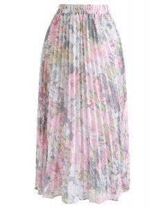 Herrlicher Blumenfaltenrock aus Chiffon in Pink