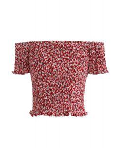 Floret Shirred Off-Shoulder Kurzes Oberteil in Rot