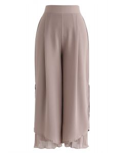 Split Plissee Hem Crop Chiffonhose in Dusty Pink