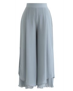 Split Plissee Hem Crop Chiffonhose in Dusty Blue