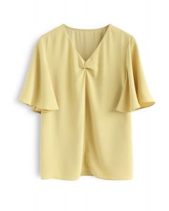 Flare Sleeves Front Twisted Top in Gelb
