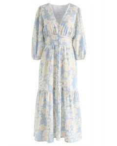Floral V-Ausschnitt Button Down Rüschen Kleid
