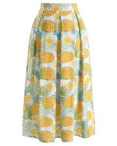 A-Linie Midirock mit Ananas-Print