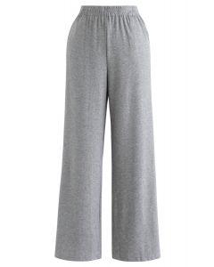 Funkelnde Hose mit weitem Bein und voller Länge in Grau