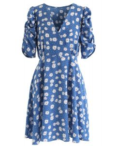 Full-Blown Daisy Print eingewickeltes Midikleid in Blau