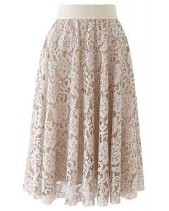 Full Floral Lace Midi Skirt in Light Tan
