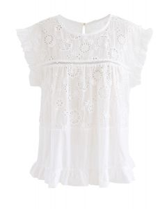 Embroidered Sunflower Eyelet Ruffle Top in White