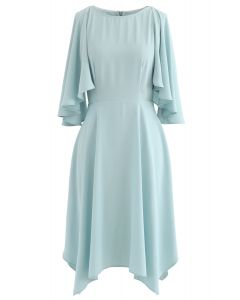 Asymmetric Cold-Shoulder Midi Dress in Mint