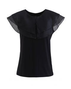 Tiered Organza Trim Sleeveless Top in Black