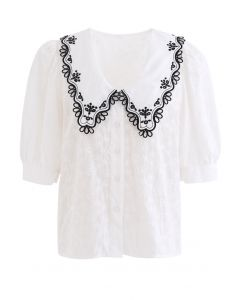 Embroidered Pointed Collar Button Down Top