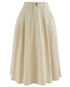 Slant Pockets A-Line Midi Skirt in Cream