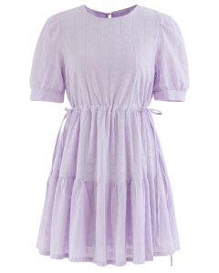 Floret Embroidered Drawstring Waist Eyelet Mini Dress in Lilac