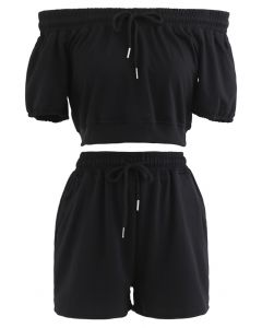 Drawstring Off-Shoulder Crop Top and Shorts Set in Black