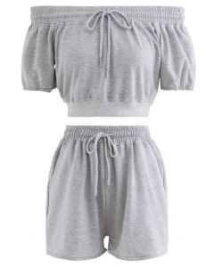 Drawstring Off-Shoulder Crop Top and Shorts Set in Grey