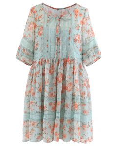 Gossamery Organza Lace Panelled Floral Dolly Dress in Mint