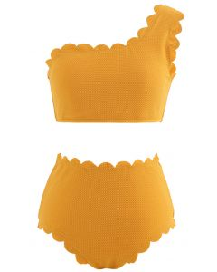 One-Shoulder Scalloped Bikini Set in Mustard