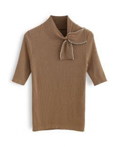 Pearl Trim Bowknot Short Sleeves Ribbed Knit Top in Tan
