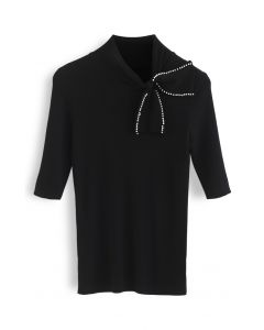 Pearl Trim Bowknot Short Sleeves Ribbed Knit Top in Black