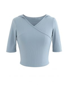 Stripe Crisscross Front Hooded Crop Sports Top in Baby Blue