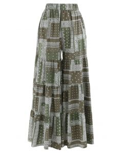 Paisley Tribal Wide-Leg Pants in Olive