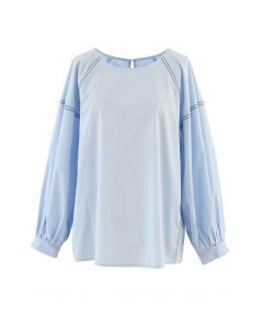 Contrast Line Puff Sleeves Loose Top in Blue