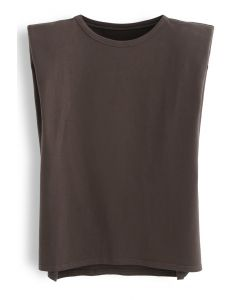 Padded Shoulder Sleeveless Top in Brown