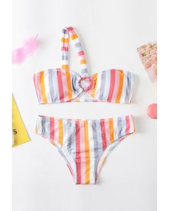 Rainbow Stripe Color Block One-Shoulder Bikini Set